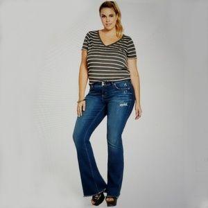 Torrid Flared Frayed Hem Distressed Jeans